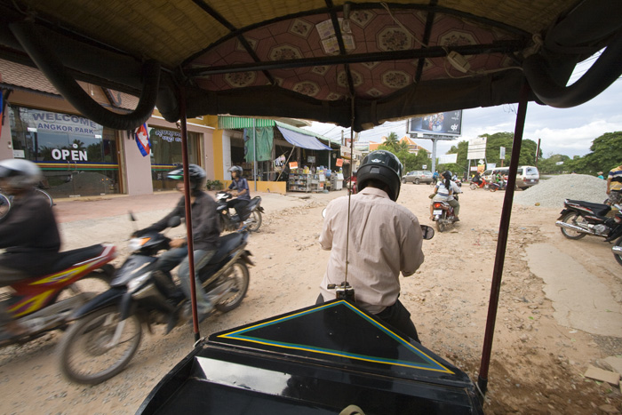 Our view from our tuk-tuk on the way to the temples of Angkor