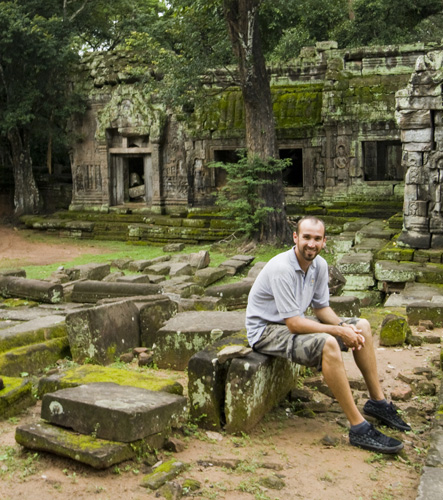 Sam in front of Ta Prohm
