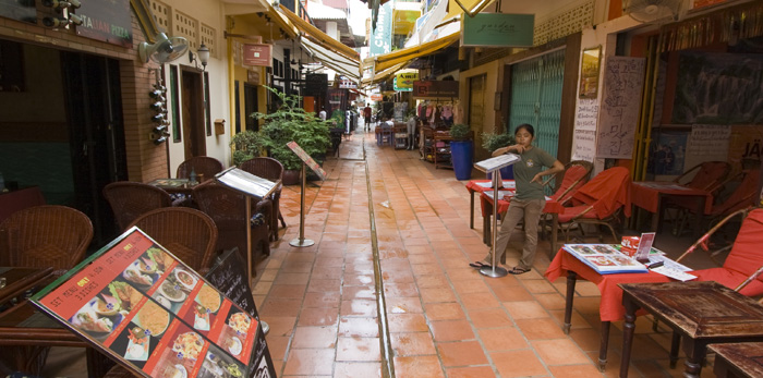 One of the many alleyways of restaurants in Siem Reap