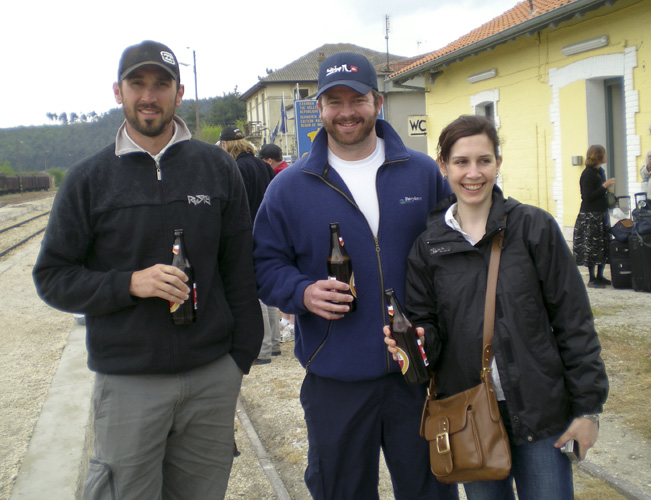 A few beers at the Turkey/Greece border waiting for the train to Thessaloniki
