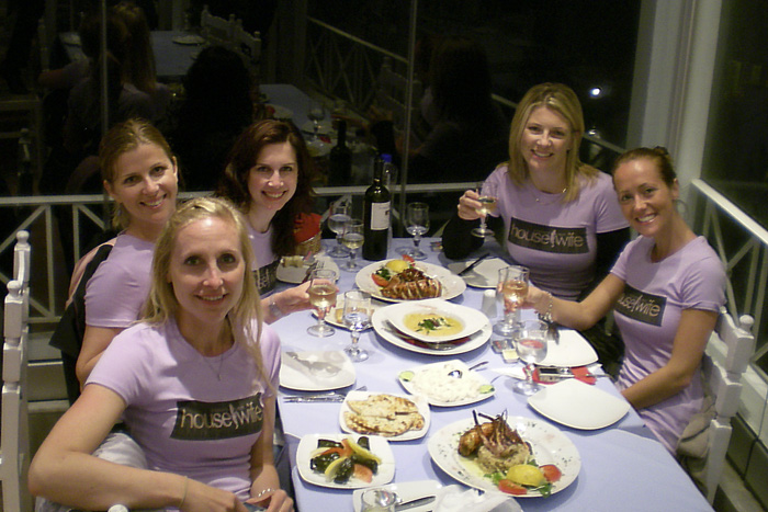 The girls having dinner (left to right): Andrea, Lisa, Sally, Sarah and Tanja