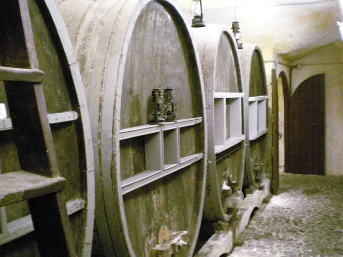 Large wine vats still being used to store Vinsanto