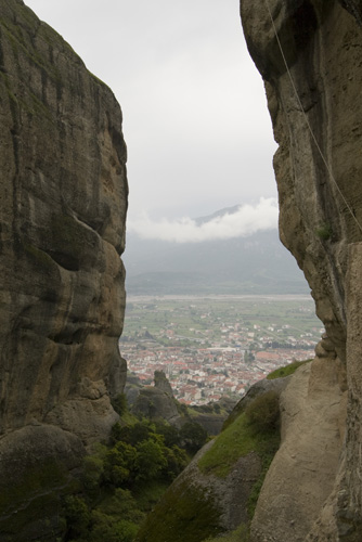 View of Kalambaka from Moni Agios Triados