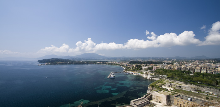 Looking south from Palaio Frourio (Venetian fortress) at Kerkyra Town