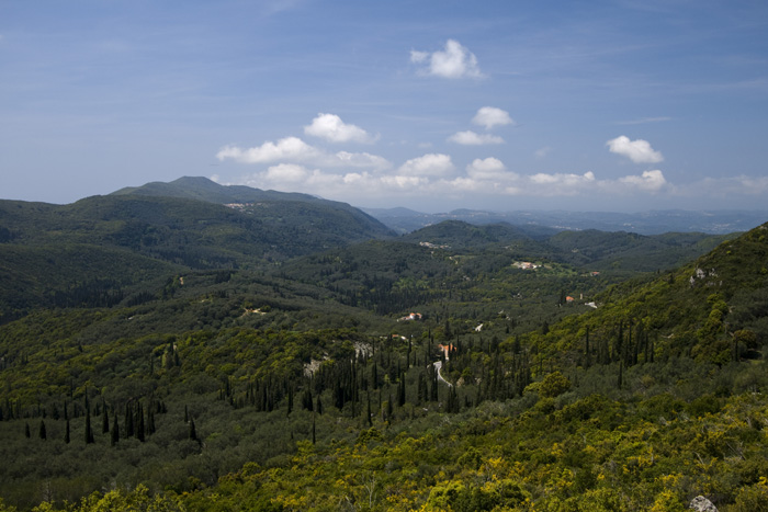 Looking north across Kerkyra on the drive up to Moni Pantokratora