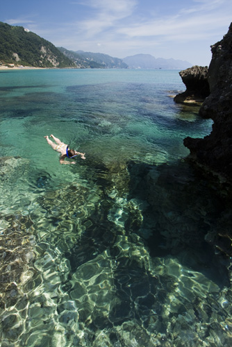 Snorkeling at the northern end of Glyfada Beach