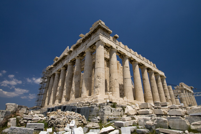 The southwest corner of the Parthenon
