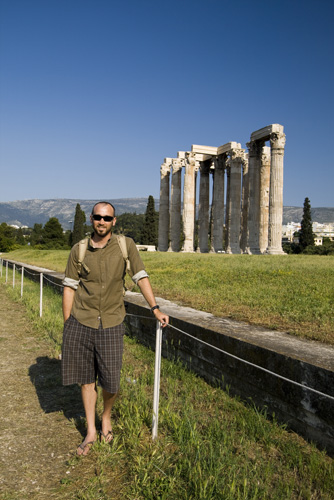 Sam in front of the Temple of Olympian Zeus
