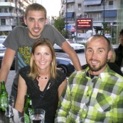 Jim, Lisa and Sam having a few beers in the Pangrati area of Athens