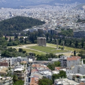 The Temple of Olympian Zeus and the Pangrati area of Athens