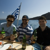 Tariq, ET and Greg enjoying a Mythos or two