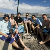 The bucks on the boat for the afternoon (left to right): Sam, ET, Greg, Pete, Tariq and Squino