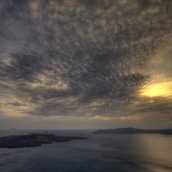 Sunset over Nea Kameni and Thirasia: the quiet before the storm