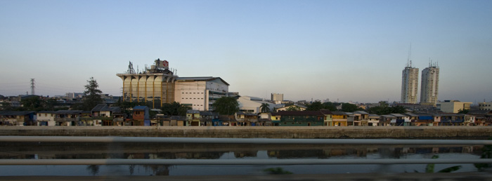 Some of the slums alongside the highway in northern Jakarta