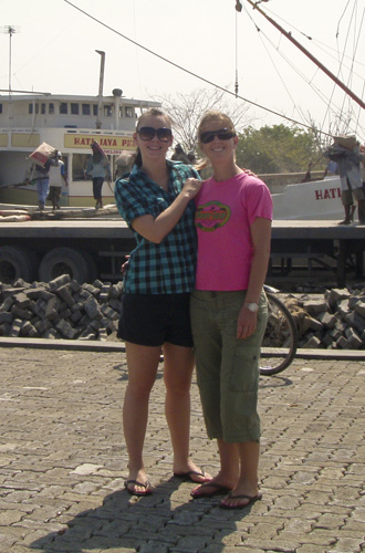 Lisa and Sophie at the port north of Old Batavia