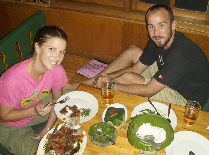Lisa and Sam enjoying a traditional Indonesia meal at Dapur Sunda
