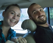 Sophie and Sam in the car on the way to Kota