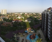 The view over southern Jakarta from Richie and Sophie\'s apartment in Hotel Kristal