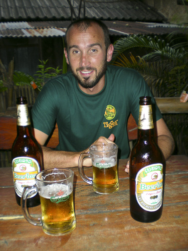 Sam enjoying some Beerlao at the Sakura Bar in Vang Vieng
