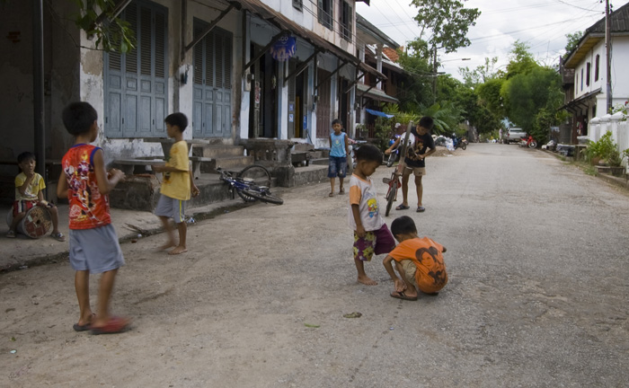 Young boys playing in the streets of Luang Prabang