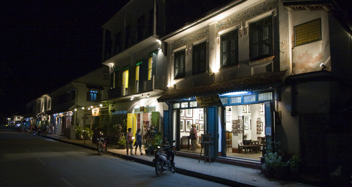 Luang Prabang's main drag by night