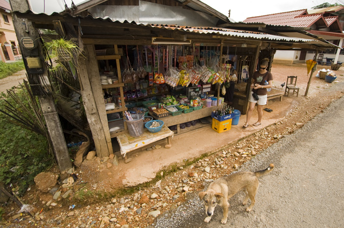Lisa buying some banana chips in Vang Vieng