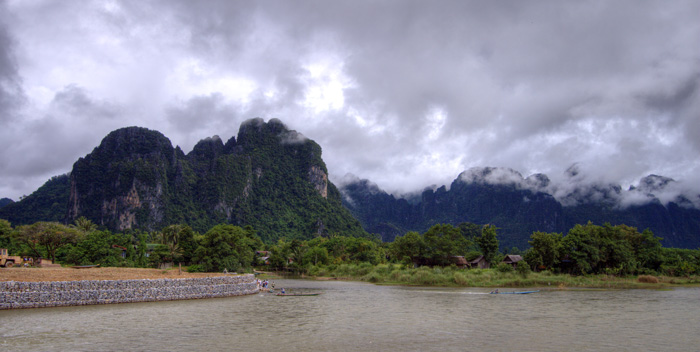 View of the limestone mountains around Vang Vieng