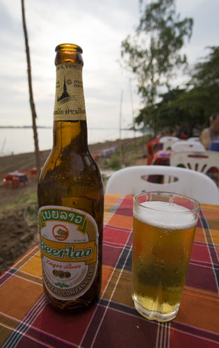 Beerlao on the banks of the Mekong