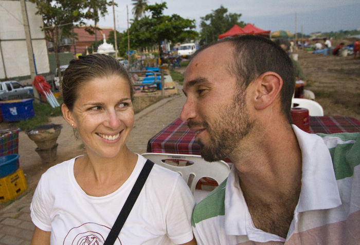 Lisa and Sam having a few drinks at the food stalls along the Mekong