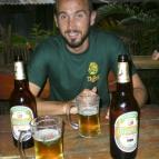 Sam enjoying some Beerlao at the Sakura Bar in Vang Vieng