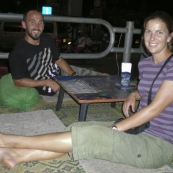 Sam and Lisa about to have a beer on the banks of the Mekong River
