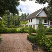 One of the many beautiful guesthouses lining the streets of Luang Prabang\'s old town
