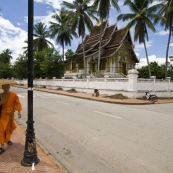 A monk walking in front of the wat at the Royal Palace Museum