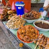 The dizzying array of food availanle at Luang Prabang\'s market
