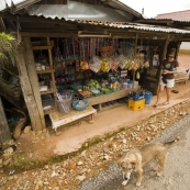 Lisa buying some banana chips in Vang Vieng