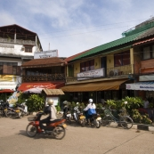 Some of the Scandinavian and French eateries surrounding Nam Phu Fountain