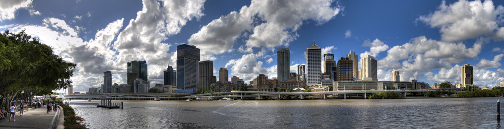 Panoramic of Brisbane from South Bank