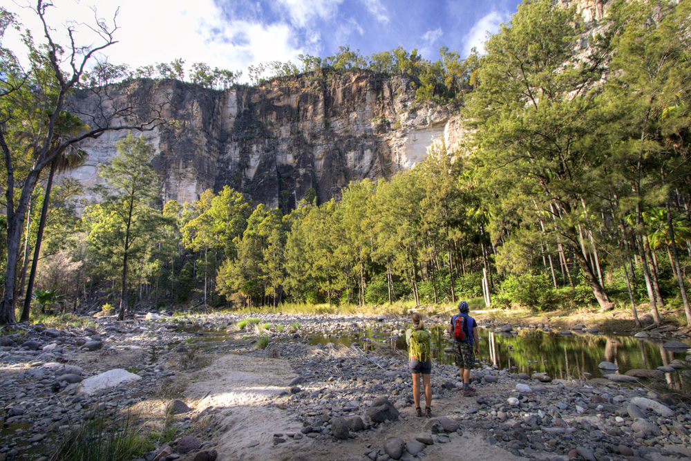 Lisa and Chris taking in the towering cliffs of Carnarvon Gorge