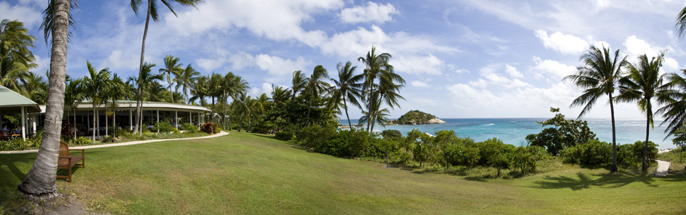 Panoramic of the Lizard Island Resort dining facilities overlooking Anchor Bay