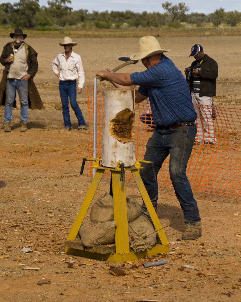 Wood chopping events at the Bedourie camel races