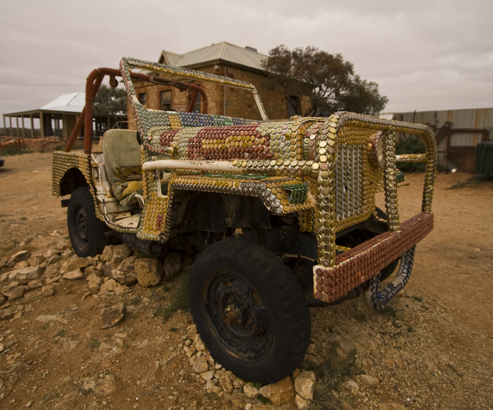 Bottle cap covered Jeep in Silverton