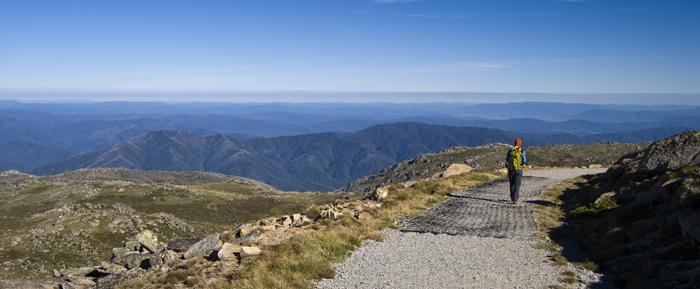 Lisa on top of the world near the peak of Mount Kosciuszko