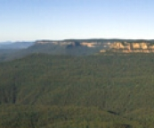 Panoramic of Blue Mountains National Park with the Three Sisters on the left taken from Echo Point