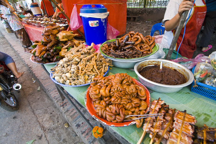 The dizzying array of food availanle at Luang Prabang's market