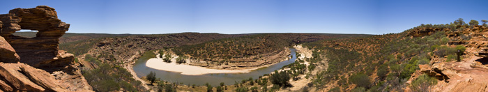 Panoramic of Nature's Window and Murchison River Gorge in Kalbarri National Park