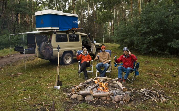 Lisa, Sam and Chris camping alongside the Wonnongatta River near the ruins of Wonnongatta Station