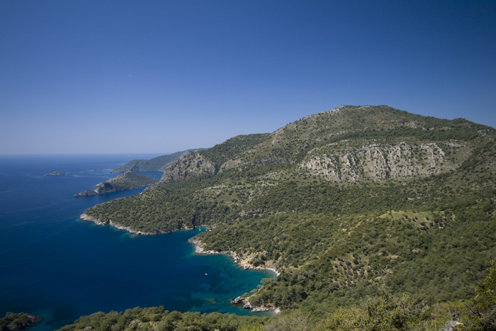 View north from the Lycian Way (the inlet before the large peninsula is where we ended up the first time)