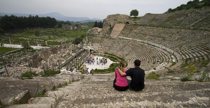Sam and Lisa in Ephesus' main theatre