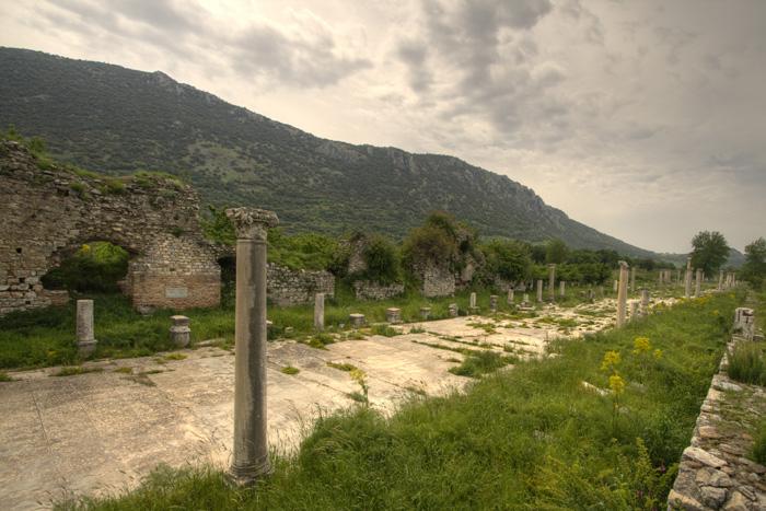 The street leading down to Ephesus' main harbor