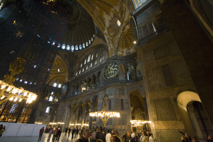 The main hall and dome inside Aya Sofya